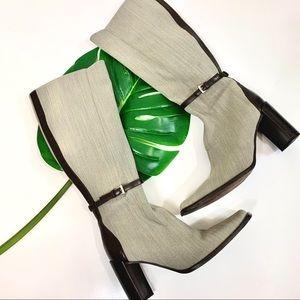 Donald J. Pliner Greige & Brown Leather Boots 6M